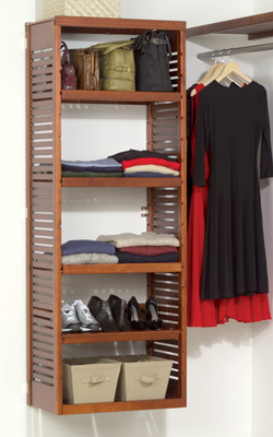 John Louis Home Storage Tower, Red Mahogany, Paradise Closets and Storage